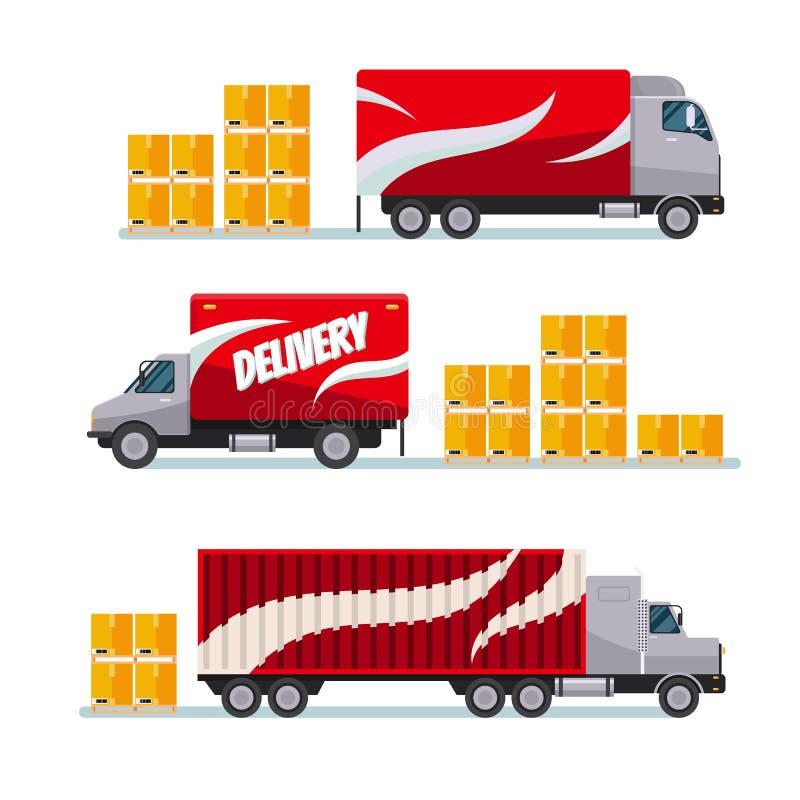 Тележки быстрой поставки красные установили с коробками пакета иллюстрация штока