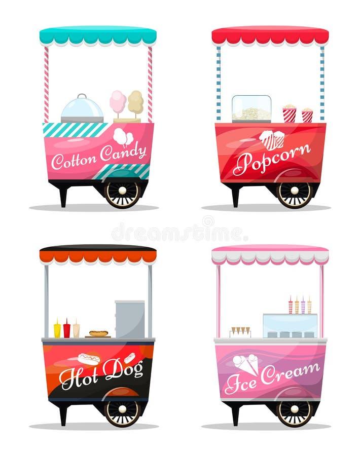 Тележки установили в розницу, попкорн, конфета хлопка, хот-дог, киоск мороженого на колесе бесплатная иллюстрация