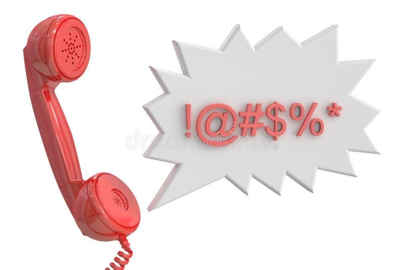 Телефонная трубка и речь клокочут с цензированными присягая словами, rende 3D иллюстрация вектора