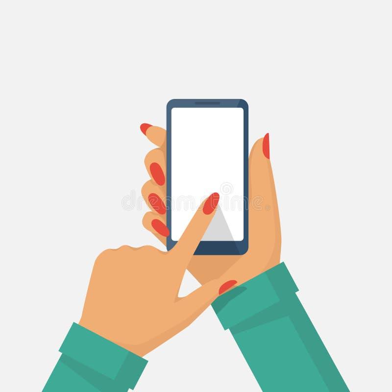 Телефон в женской руке иллюстрация вектора