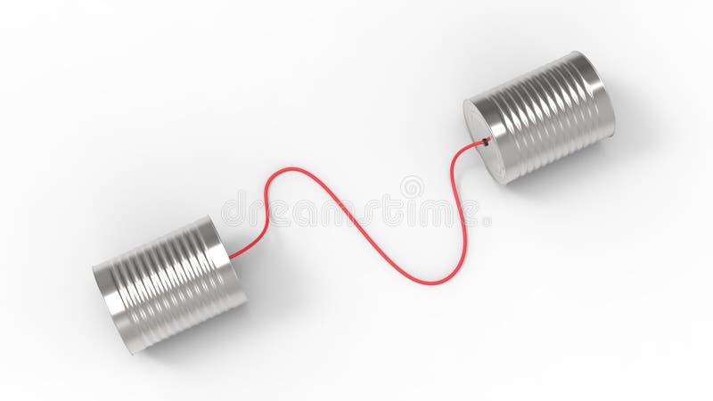 Телефон жестяных коробок изолированный на белой предпосылке 3D иллюстрируя стоковая фотография rf