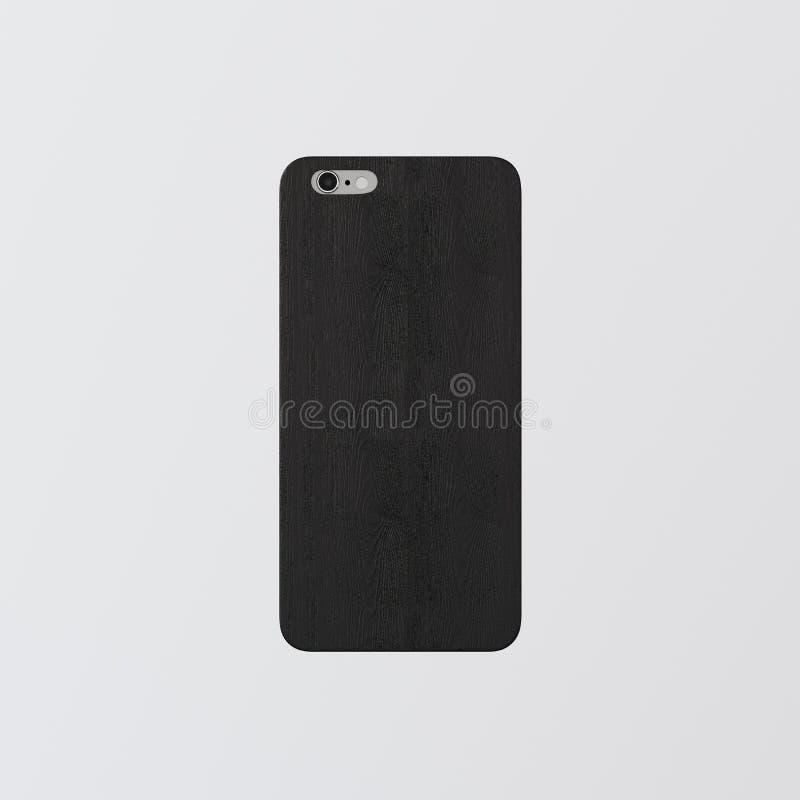 Телефон крышки шаблона крупного плана одного пустой черный чистый Сильно текстурированный естественный деревянный модель-макет Sm стоковая фотография rf