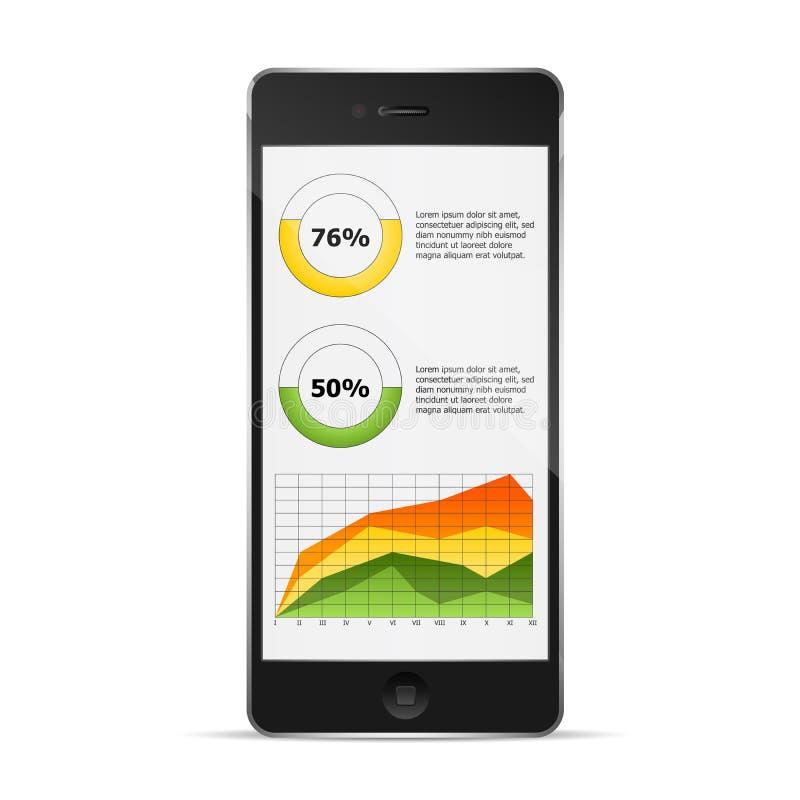 Телефон с диаграммой статистик бесплатная иллюстрация