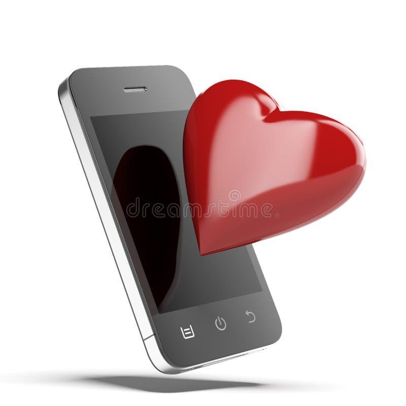 Телефон с красным сердцем иллюстрация вектора