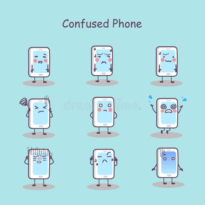 Телефон confused шаржа умный бесплатная иллюстрация