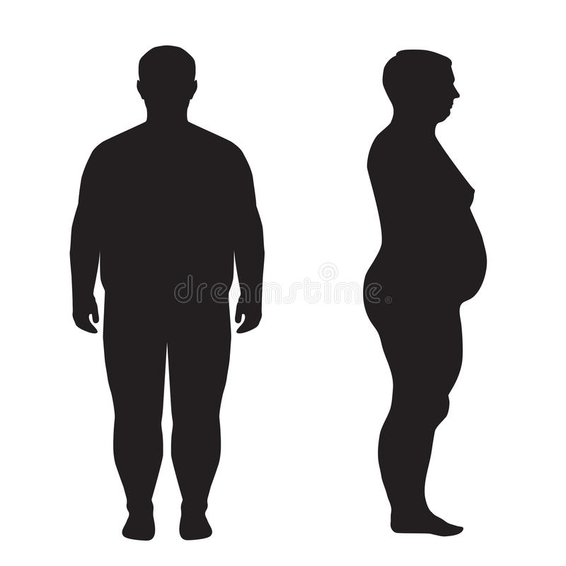 Тело вектора тучное, потеря веса, иллюстрация вектора