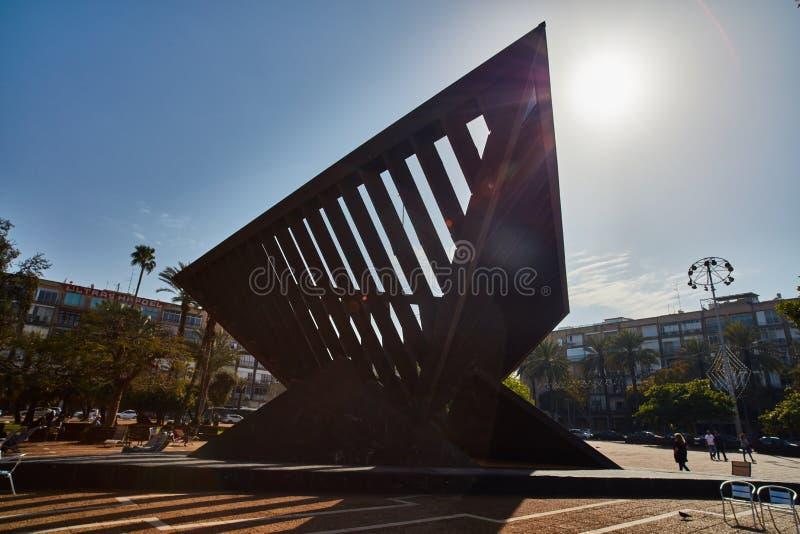 Тель-Авив - 10 02 2017: Известный квадрат Ицхака Рабина, время дня стоковое изображение rf