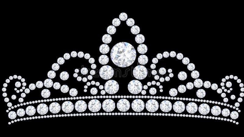 тиара кроны диаманта иллюстрации 3D с блестящее драгоценным иллюстрация вектора