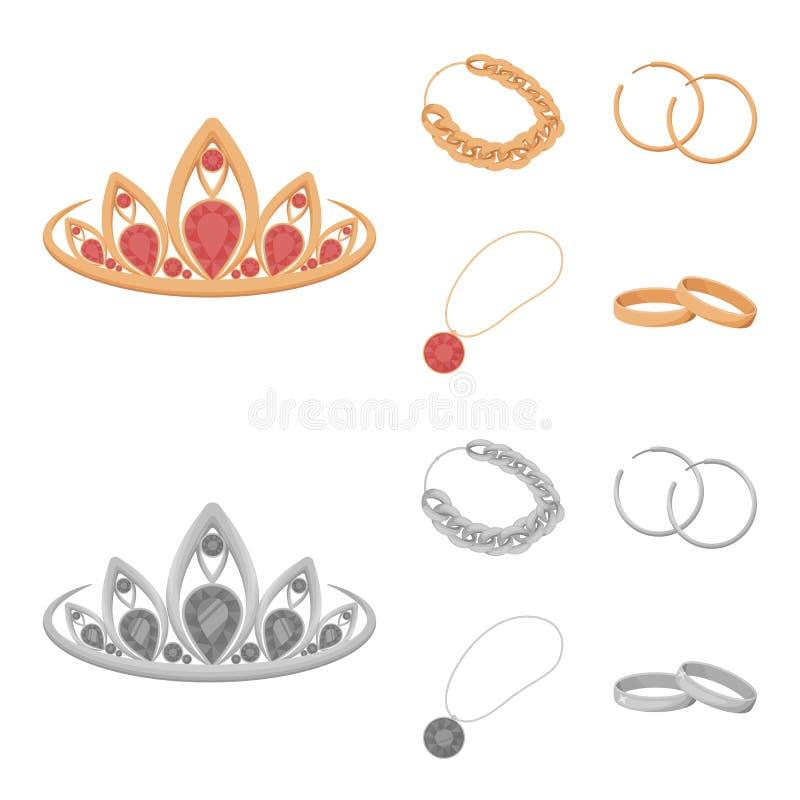 Тиара, цепь золота, серьги, шкентель с камнем Украшения и аксессуары установили значки собрания в шарже, monochrome бесплатная иллюстрация