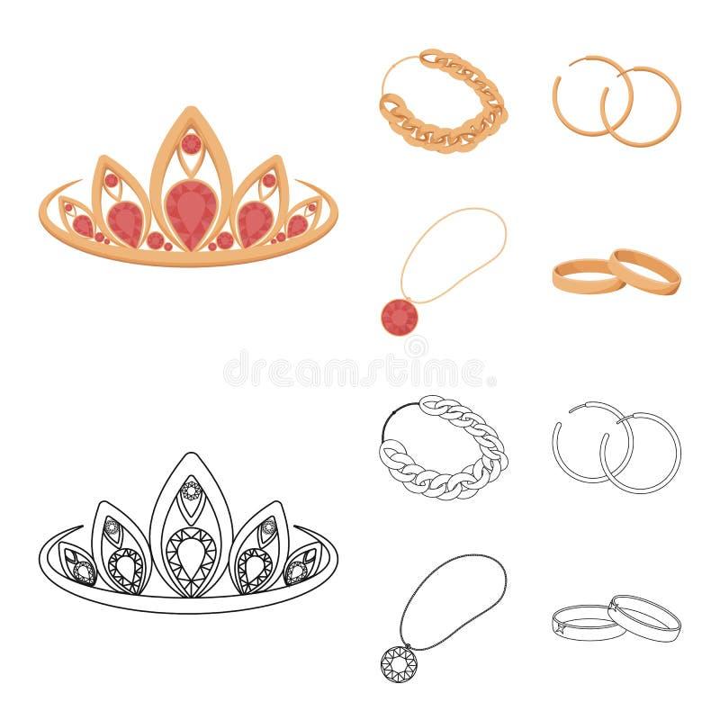 Тиара, цепь золота, серьги, шкентель с камнем Украшения и аксессуары установили значки собрания в шарже, плане бесплатная иллюстрация