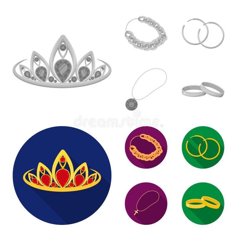 Тиара, цепь золота, серьги, шкентель с камнем Украшения и аксессуары установили значки собрания в monochrome, плоском иллюстрация штока