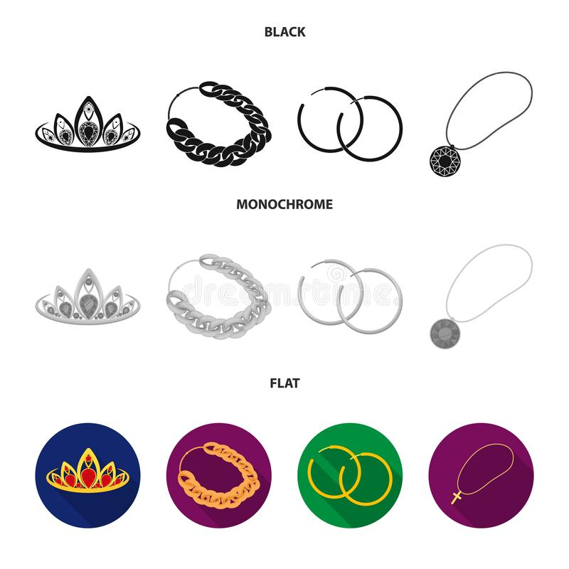Тиара, цепь золота, серьги, шкентель с камнем Украшения и аксессуары установили значки собрания в черноте, плоской бесплатная иллюстрация