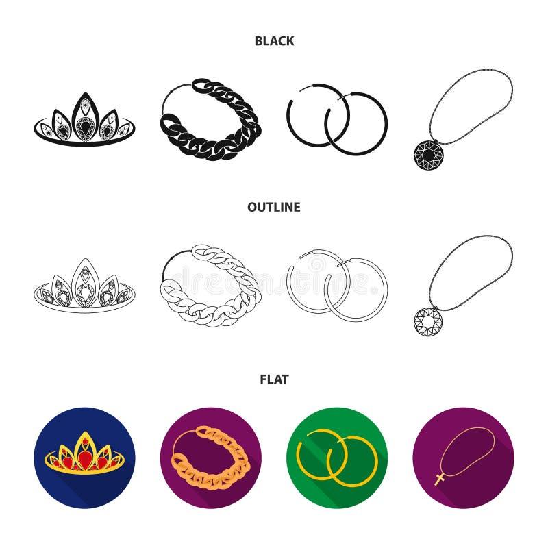 Тиара, цепь золота, серьги, шкентель с камнем Украшения и установленные аксессуарами значки собрания в шарже вводят вектор в моду иллюстрация вектора