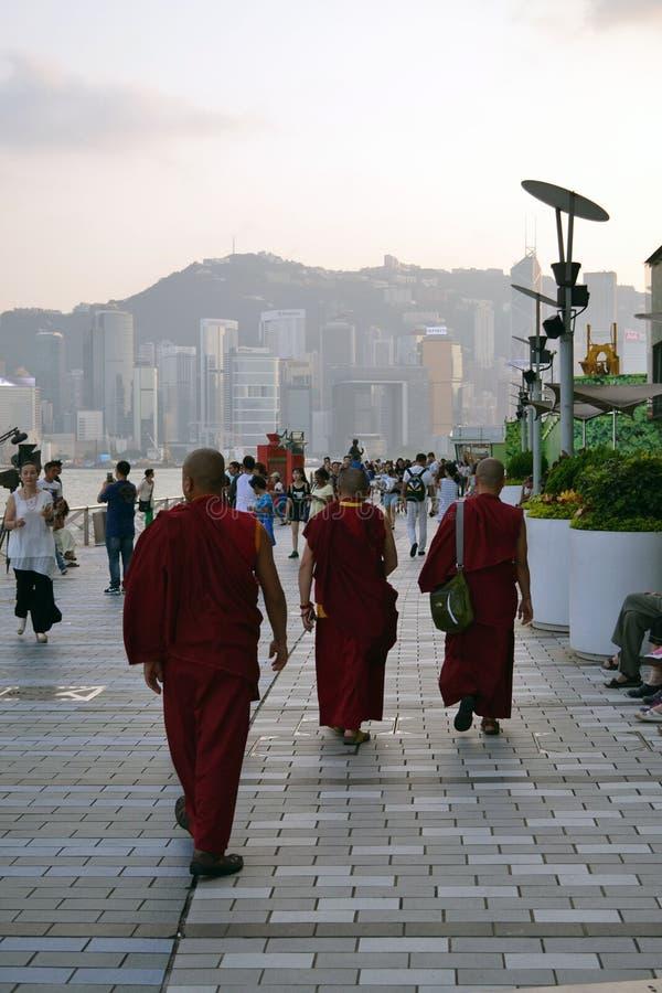 Тибетский буддийский монах в Гонконге стоковые изображения