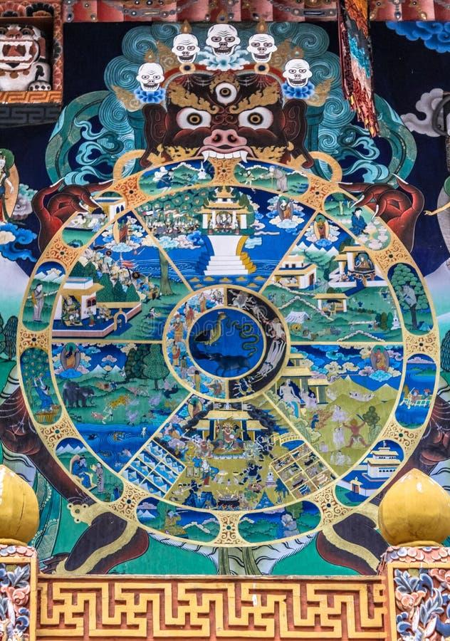 Тибетское буддийское колесо мандалы жизни покрашенное на стене в Punakha Dzong стоковые фотографии rf