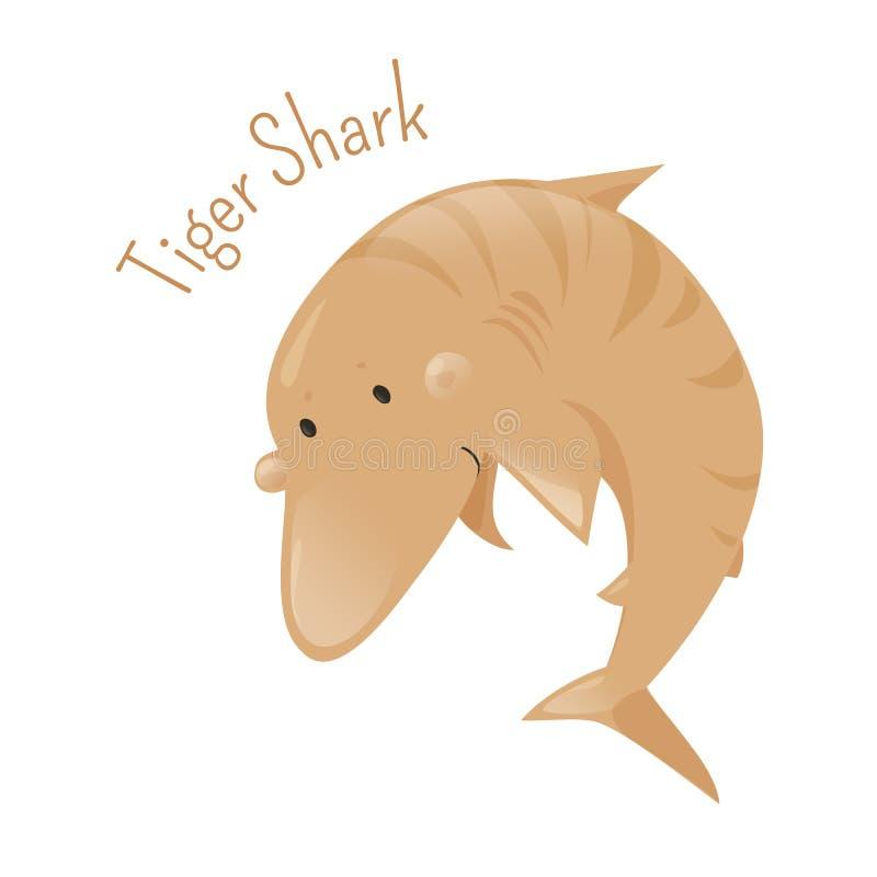Тигровая акула Изолированный персонаж из мультфильма бесплатная иллюстрация