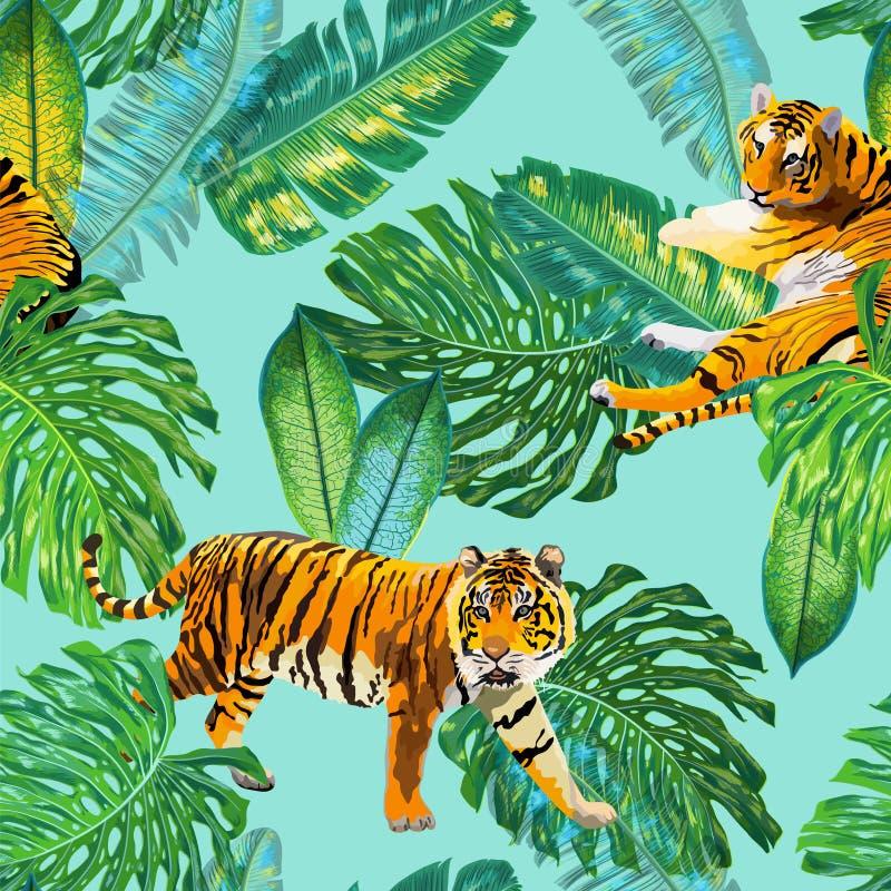 Тигры в тропической ладони покидают безшовная картина Троповая предпосылка акварели с тигром и Monstera для обоев бесплатная иллюстрация