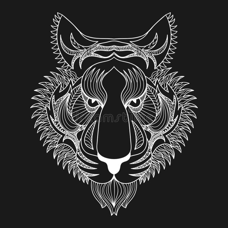 Тигр белизны вектора Иллюстрация стороны тигра Zentangle, hea тигра иллюстрация вектора