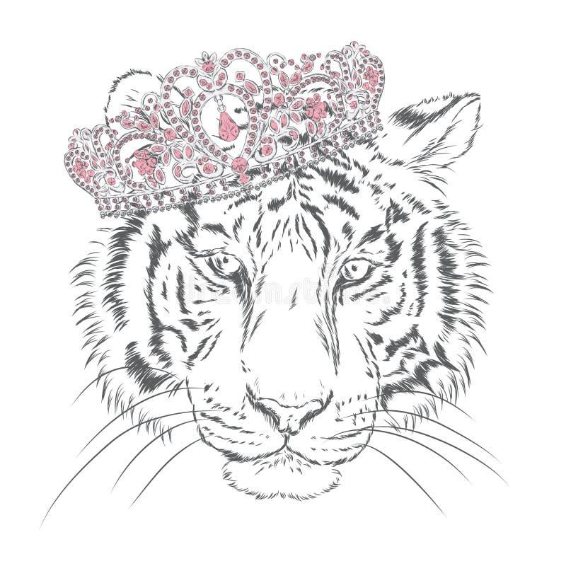 Тигр вектора акварель иллюстрация штока