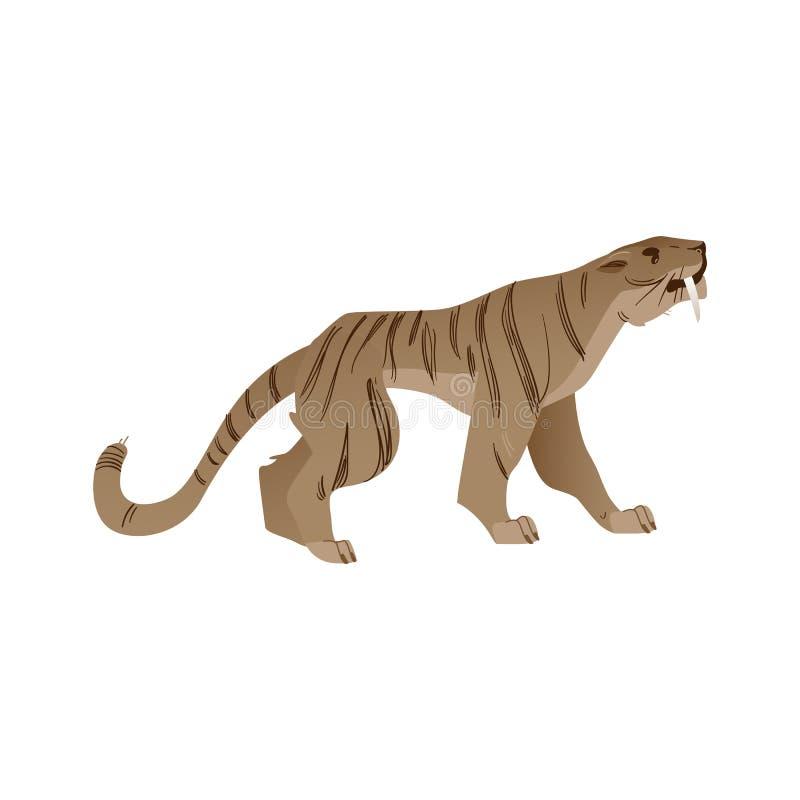 Тигр вектора сабл-toothed со значком больших поклонников бесплатная иллюстрация