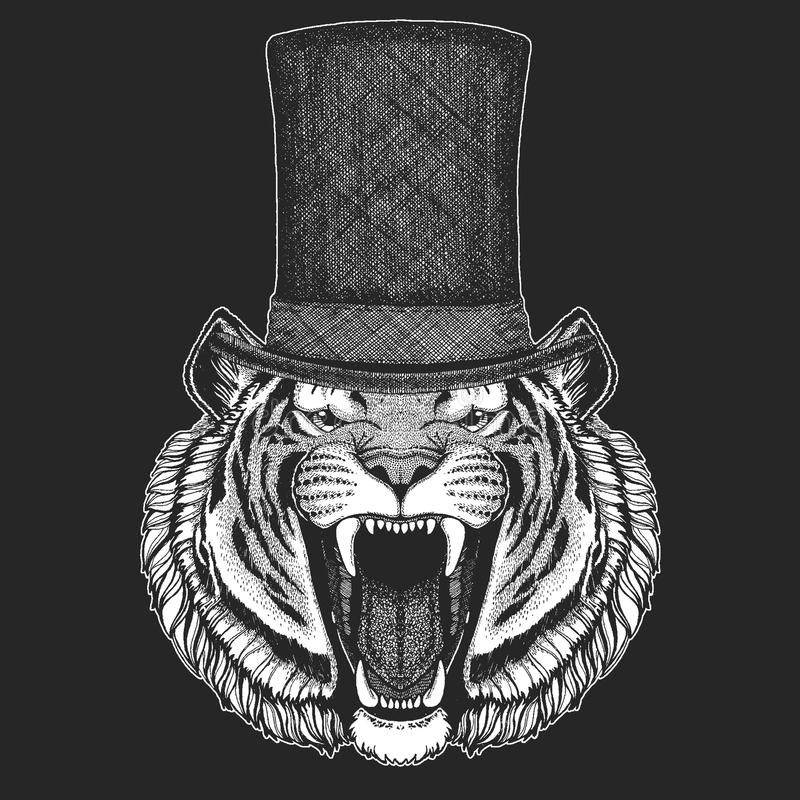 Тигр Верхняя шляпа, цилиндр Животное битника, джентльмен Классический головной убор Печать для детей футболки, одежды детей иллюстрация вектора