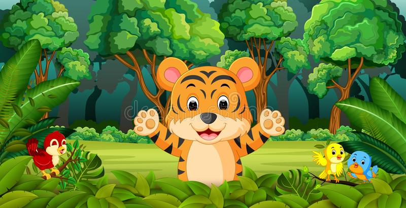 Тигр в лесе бесплатная иллюстрация