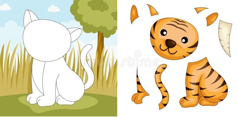 тигр головоломки иллюстрация штока