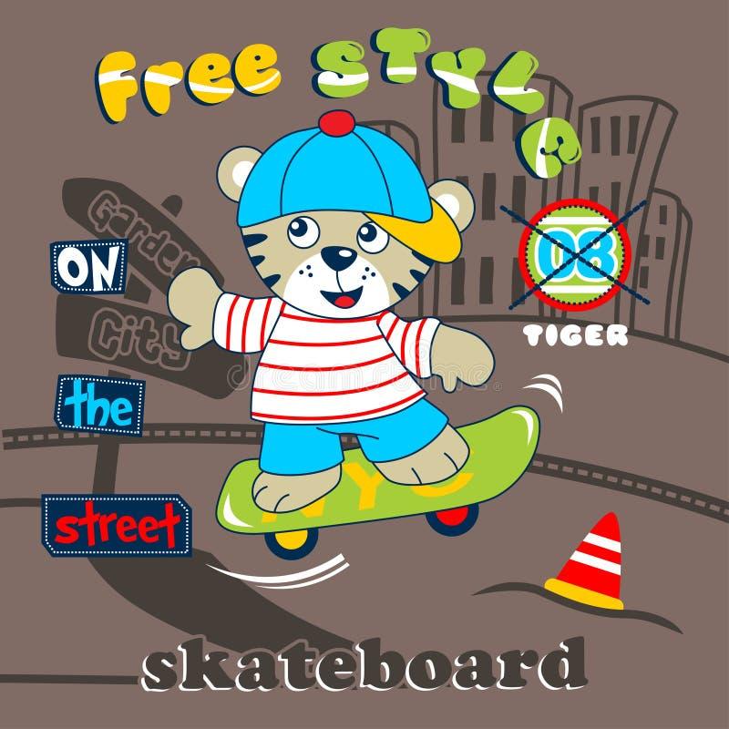 Тигр играя шарж скейтборда смешной животный иллюстрация штока