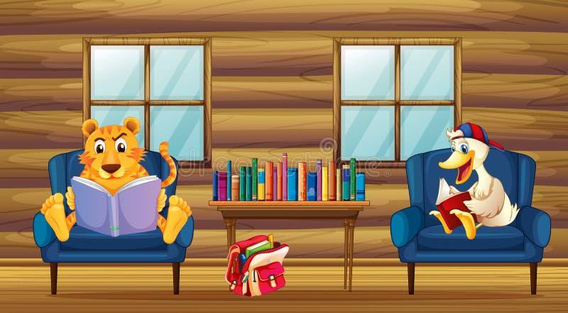 Тигр и чтение утки внутри дома иллюстрация штока