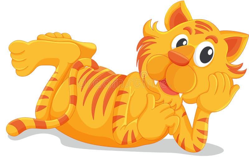 Тигр кладя вниз иллюстрация вектора