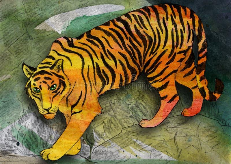 Тигр наблюданный зеленым цветом иллюстрация вектора