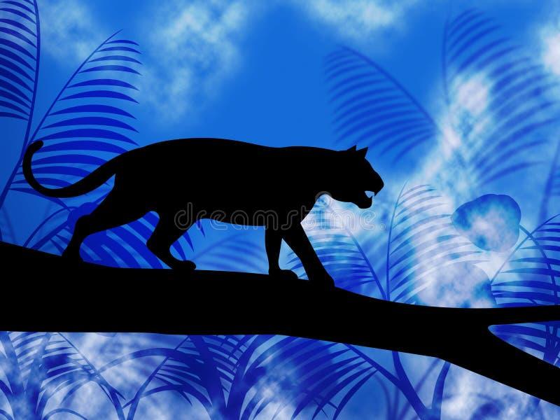Тигр на дереве показывает животных и кота джунглей бесплатная иллюстрация