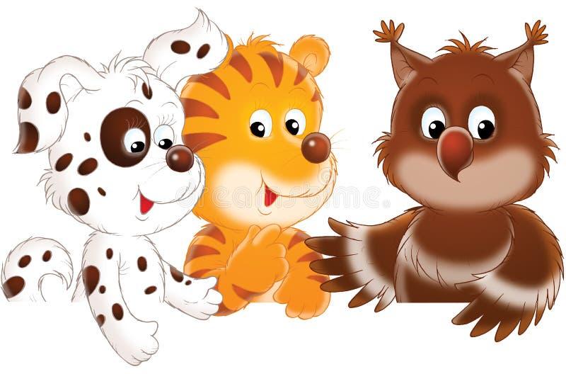 тигр сыча собаки иллюстрация вектора