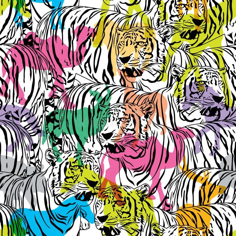 Тигр с красочными животными живой природы силуэта иллюстрация вектора