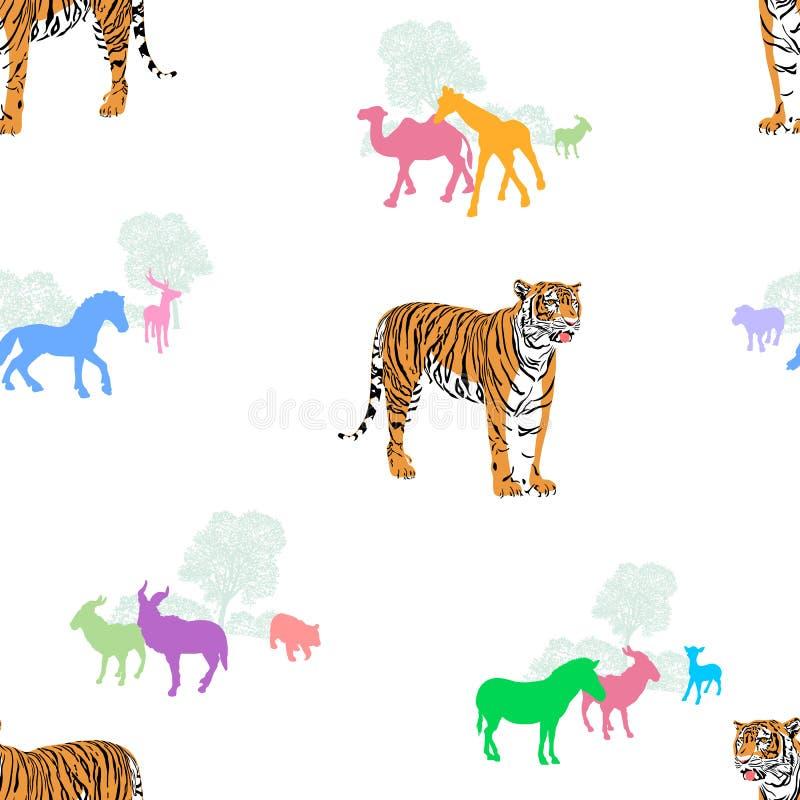 Тигр с красочными животными силуэта иллюстрация вектора