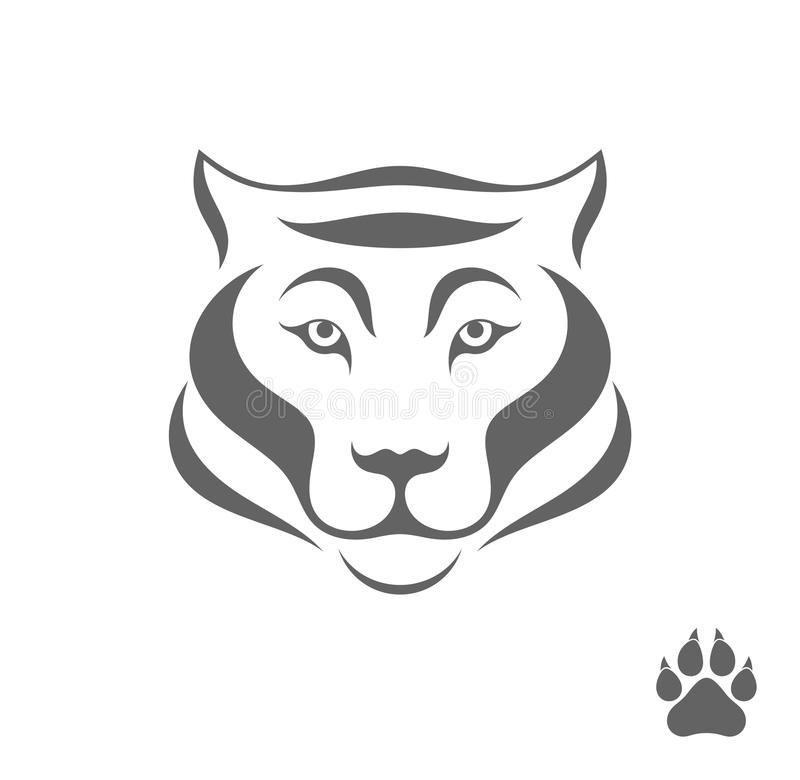 Тигр с печатью лапки иллюстрация штока