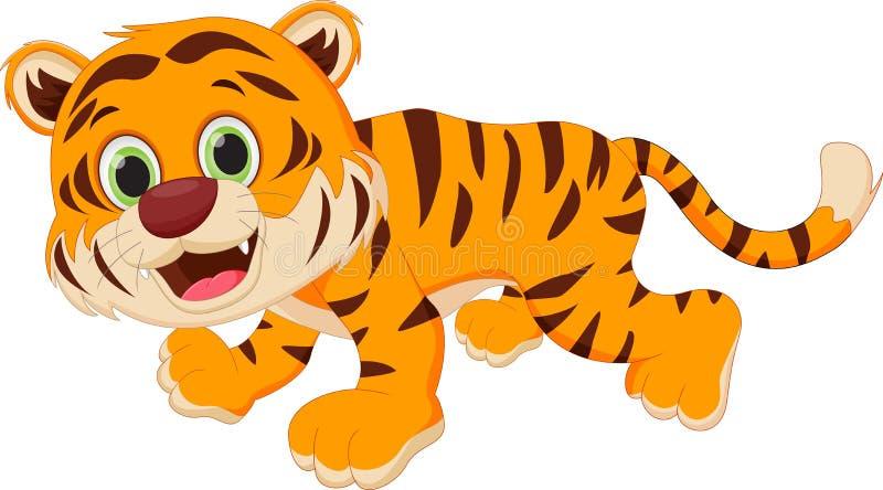 тигр шаржа милый иллюстрация вектора