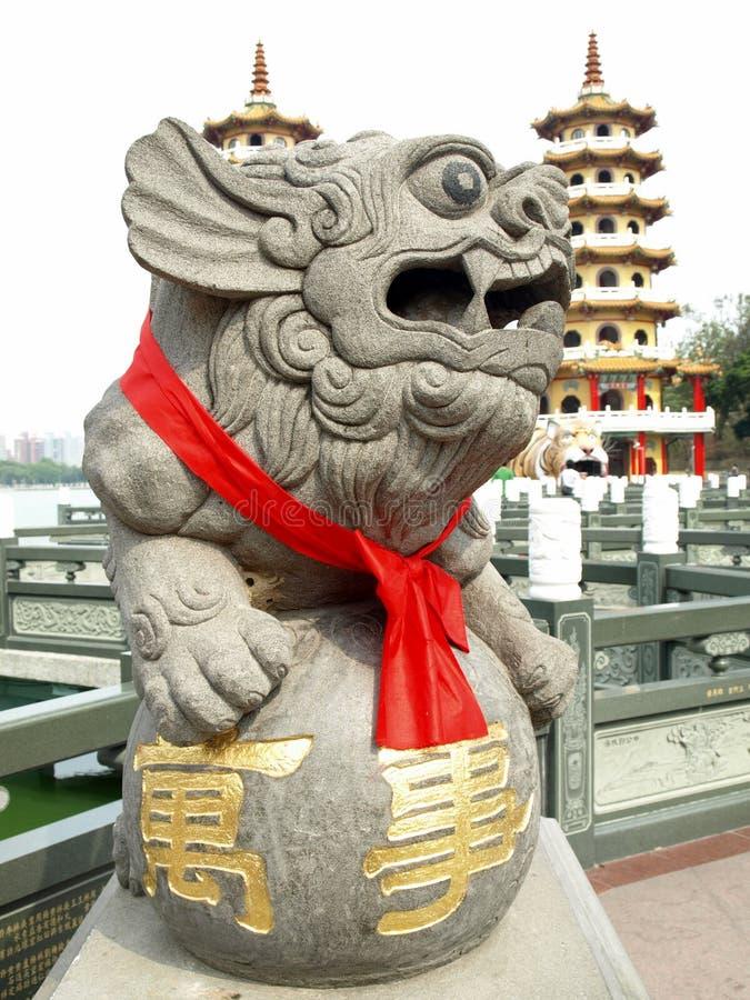 тигр pagodas китайского льва дракона удачливейший стоковые фотографии rf