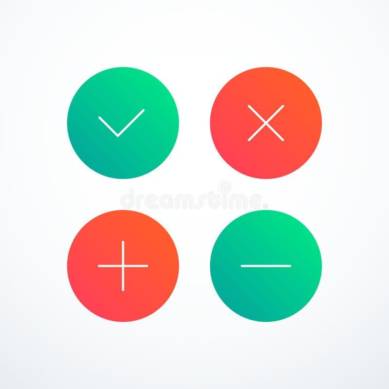 Тикание, крест, плюс, минус комплект значка проверите метку икон также вектор иллюстрации притяжки corel бесплатная иллюстрация