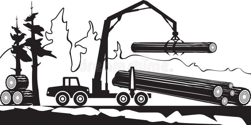 Тимберсы загрузки трактора деревянные в лесе иллюстрация вектора