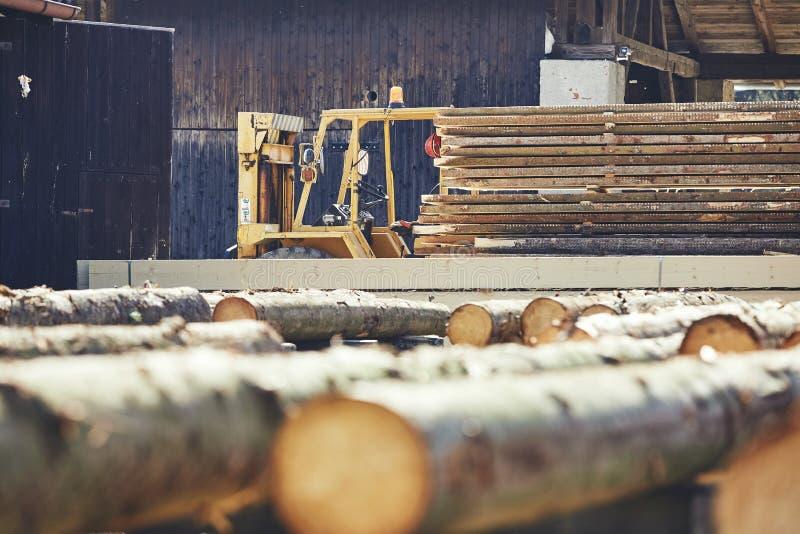Тимберс на лесопилке стоковые изображения