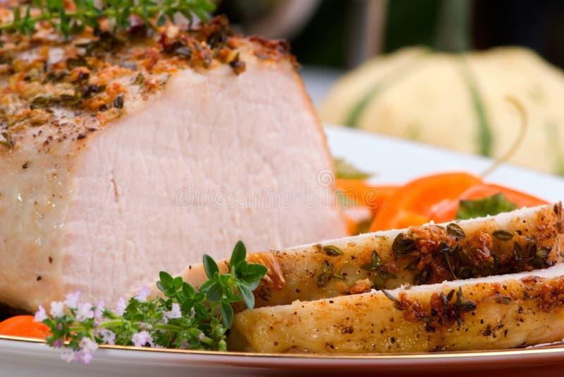 тимиан жаркого свинины чеснока стоковые изображения rf