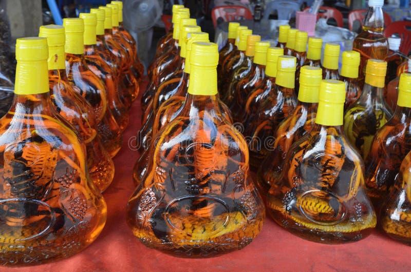 Тинктуры спирта на змейках и скорпионах стоковая фотография rf