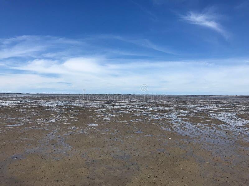 Тинный пляж под голубым небом стоковое изображение rf