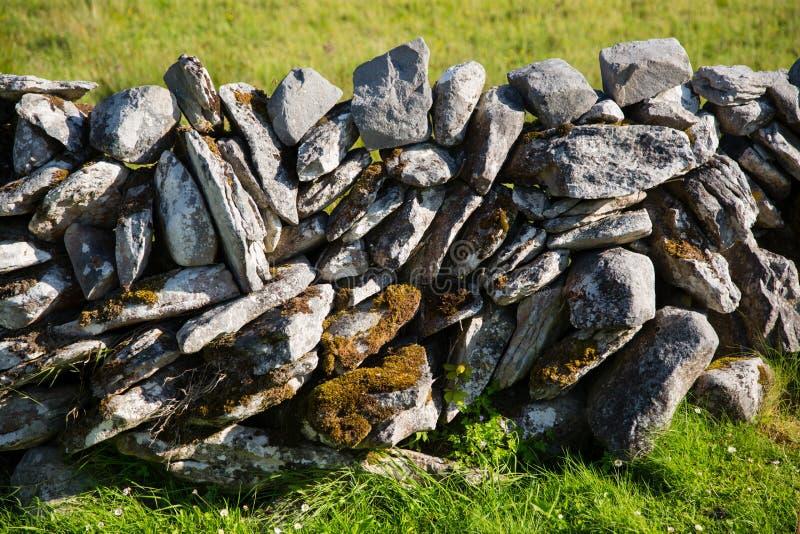 Типичная ирландская каменная деталь загородки, зеленое травянистое поле стоковое фото rf
