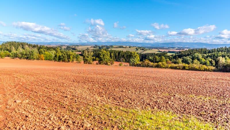 Типичная красная почва сельской местности вокруг Новы Paka Аграрный ландшафт с гигантскими горами на предпосылке чехословакско стоковые фотографии rf