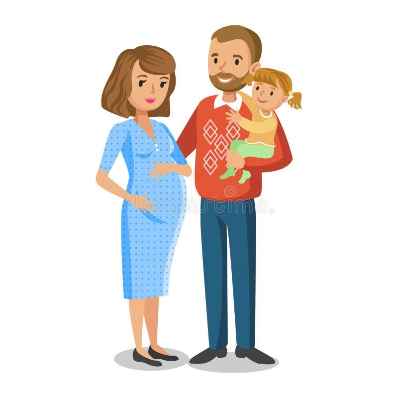 Типичная семья в влюбленности, маленькая девочка и родители, беременная женщина иллюстрация вектора