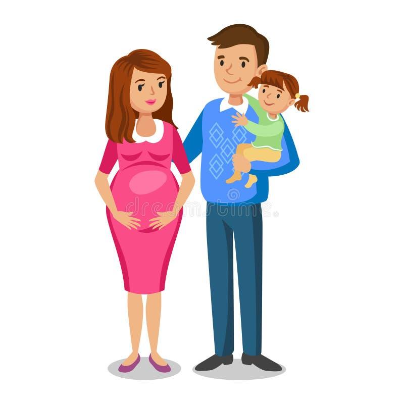 Типичная семья в влюбленности, маленькая девочка и родители, беременная женщина иллюстрация штока