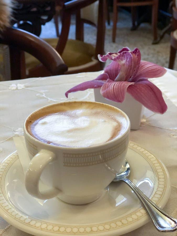 Типичное итальянское капучино в элегантной кофейне стоковое изображение rf
