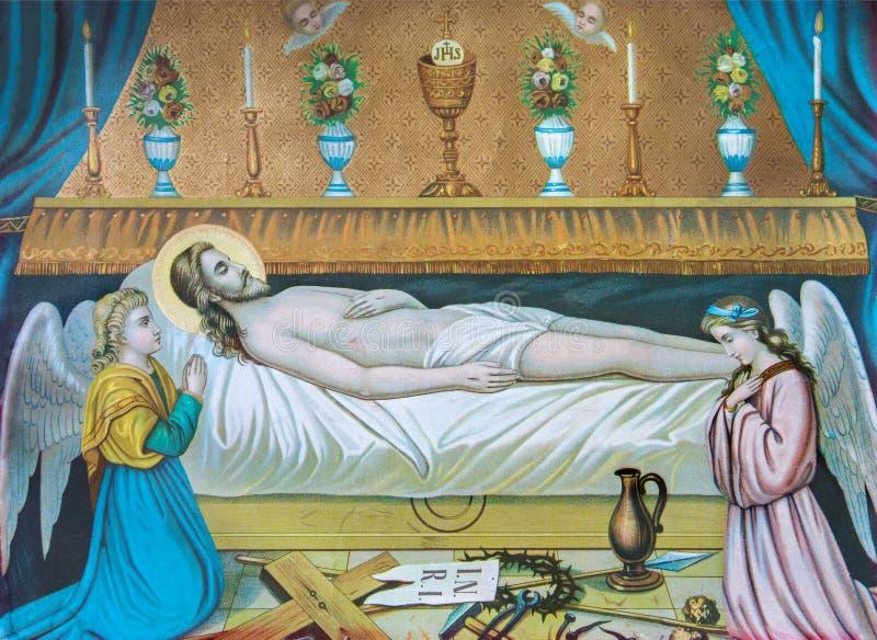 Типичное католическое изображение Иисуса Христоса в усыпальнице (в моем собственном доме) напечатало в Германии от конца 19 цент стоковые фотографии rf